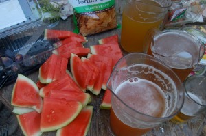 Watermelon and beer at the Tourist Club