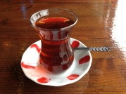 Turkish cay. Typically served in a glass like this. Everywhere. All the time.